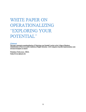 "Image: Cover: WHITE PAPER ON OPERATIONALIZING ""EXPLORING YOUR POTENTIAL"""